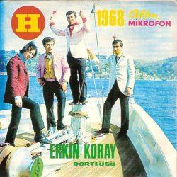 Satılık Plak Erkin Koray Dörtlüsü Çiçek Dağı 45'liği Ön Kapak (1968 Altın Mikrofon 45'liği)